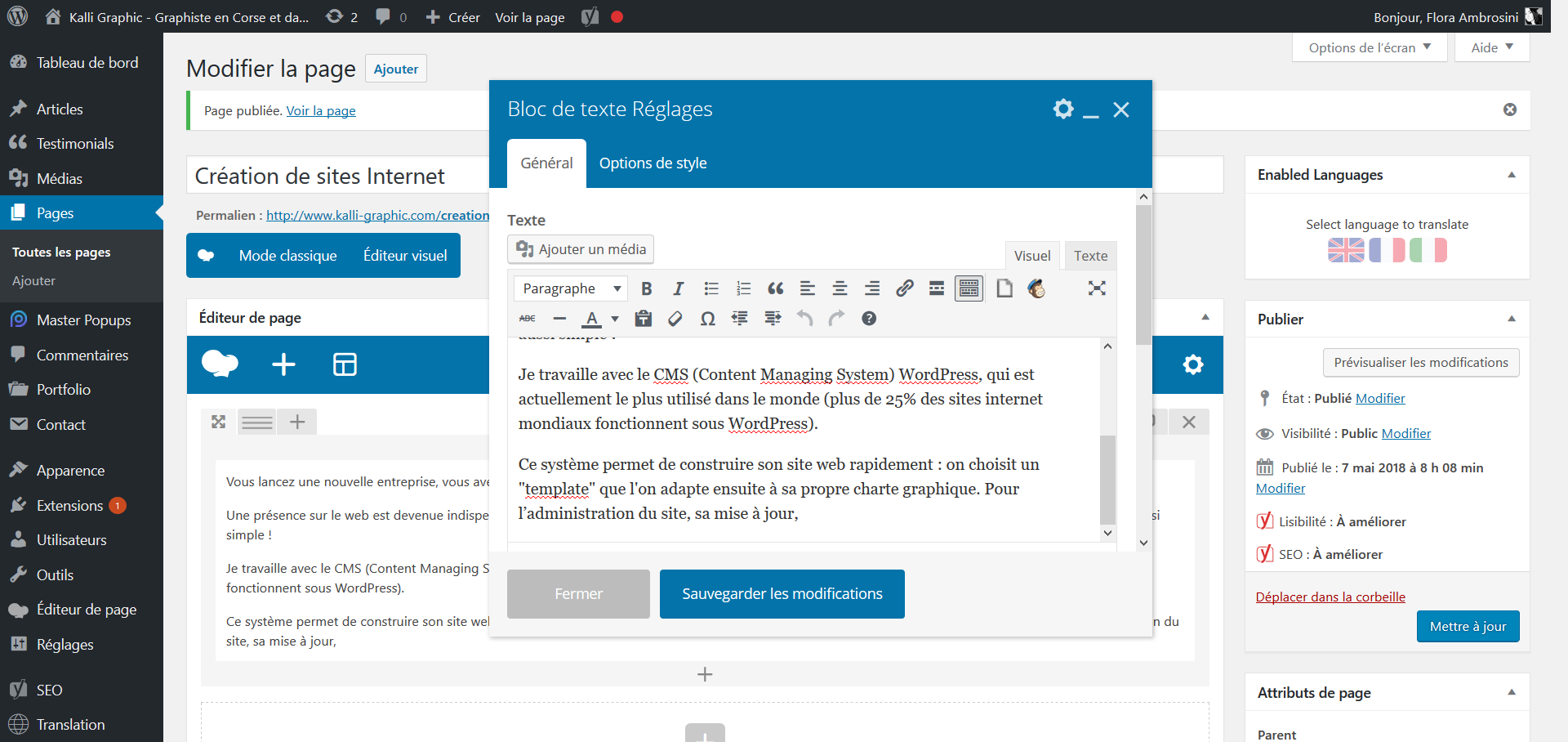 Interface de l'administration WordPress