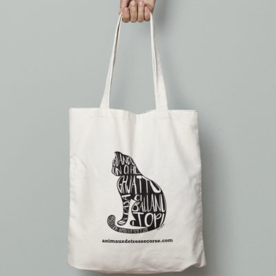tote bag design chat animaux détresse Corse graphisme