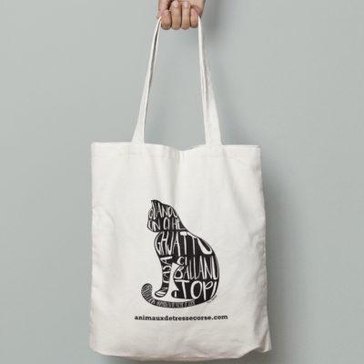 tote bag design chat animaux détresse Corse graphisme
